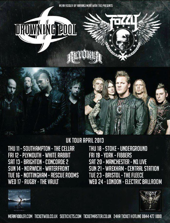 drowning pool and Fozzy UK Tour